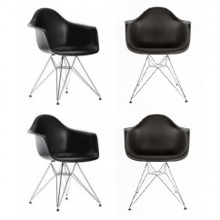 4 X DAR Dining Armchair with Steel Eiffel Legs in Black