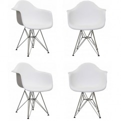 4 X Eames Style DAR Dining Armchair with Steel Eiffel Legs in White