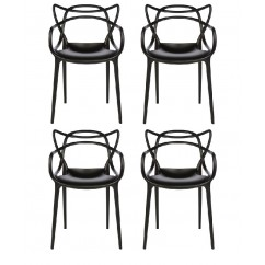 4 X Midcentury Modern Masters Dining Chair In Black