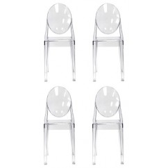 4 X Victoria Style Clear Color Ghost Dining Chair