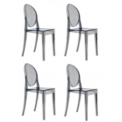 4 X Victoria Style Smoke Color Ghost Dining Chair