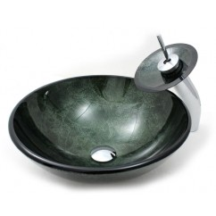 Amazon Green Bathroom Vessel Glass Sink and Waterfall Faucet Combo