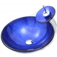 Quantum Blue Bathroom Vessel Glass Sink and Waterfall Faucet Combo
