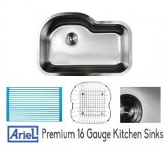 Ariel Pearl 31-1/2 Inch Stainless Steel Undermount Offset Single Bowl Kitchen Sink with FREE ACCESSORIES