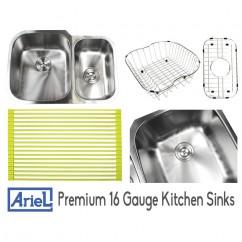 Ariel Pearl 29 Inch Stainless Steel Undermount Double Bowl 60/40 Offset Kitchen Sink - 16 Gauge FREE ACCESSORIES