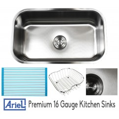Ariel Pearl 30 Inch Premium 16 Gauge Stainless Steel Undermount Single Bowl Kitchen Sink with FREE ACCESSORIES