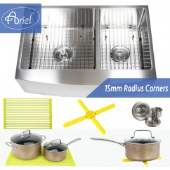 Ariel 33 Inch Curved Front Farm Apron 60/40 Double Bowl Stainless Steel Kitchen Sink Premium Package 15mm Radius Design