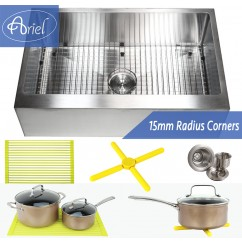Ariel 30 Inch Stainless Steel Flat Front Farm Apron Single Bowl Stainless Steel Kitchen Sink Premium Package 15mm Radius Design