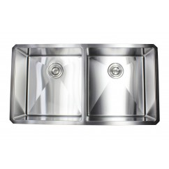 37 Inch 16 Gauge Undermount Double Bowl Stainless Steel Sink 15mm Radius Design Premium Combo Package
