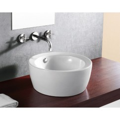 18-1/8 Inch Round European Design White / Black Porcelain Ceramic Countertop Bathroom Vessel Sink