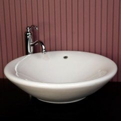 21 Inch Round Porcelain Ceramic Countertop Bathroom Vessel Sink