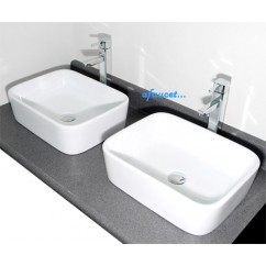 19 Inch Rectangular White Porcelain Ceramic Countertop Bathroom Vessel Sink