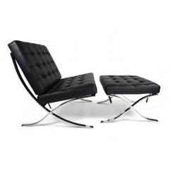 Rohe Style Classic Designer Pavilion Chair With Ottoman In Black Top Grain Leather