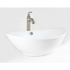 23-1/4 Inch White / Biscuit / Black Porcelain Ceramic Countertop Bathroom Vessel Sink