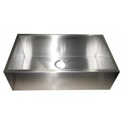 32 Inch Stainless Steel Flat Front Farm Apron Single Bowl Kitchen Sink Zero Radius Design