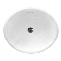 Sea Shell Porcelain Ceramic Vanity Drop In Bathroom Vessel Sink - 18 x 15-1/2 x 6-1/4 Inch