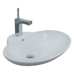 24-3/4 Inch Porcelain Ceramic Single Hole Countertop Bathroom Vessel Sink