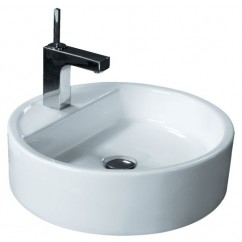 18 Inch Round Porcelain Ceramic Single Hole Countertop Bathroom Vessel Sink