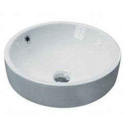 17.5 Inch Round Porcelain Ceramic Countertop Bathroom Vessel Sink