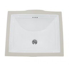 21-1/2 Inch Rectangular White Porcelain Ceramic Vanity Undermount Bathroom Vessel Sink