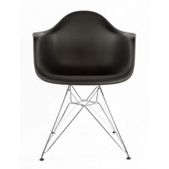 Eames Style DAR Dining Armchair with Steel Eiffel Legs in Black