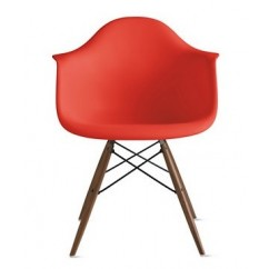 Eames Style DAW Dining Armchair with Dark Walnut Eiffel Legs in Red