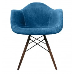 Aqua Blue Velvet Fabric Eames Style Accent Arm Chair