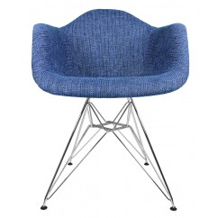 Designer Denim Blue Woven Fabric Upholstered Eames Style Accent Arm Chair