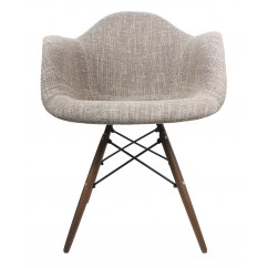 Designer Brown Woven Fabric Eames Style Accent Arm Chair with Dark Walnut Wood Eiffel Legs