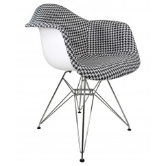 Designer Houndstooth Pattern Woven Fabric Upholstered White Eames Style Accent Arm Chair
