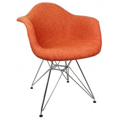 Designer Orange Woven Fabric Eames Style Accent Arm Chair