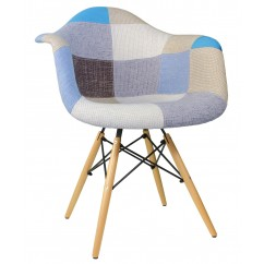 Designer Patchwork Fabric Upholstered Mid-Century Eames Style Accent Arm Chair