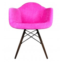 Designer Shocking Pink Velvet Fabric Eames Style Accent Arm Chair with Dark Walnut Wood Eiffel Legs