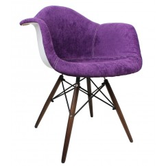 Designer Purple Velvet Fabric Eames Style Accent Arm Chair with Dark Walnut Wood Eiffel Legs