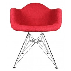 Designer Red Woven Fabric Upholstered Eames Style Accent Arm Chair