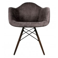 Designer Cocoa Brown Velvet Fabric Accent Arm Chair with Dark Walnut Wood Eiffel Legs