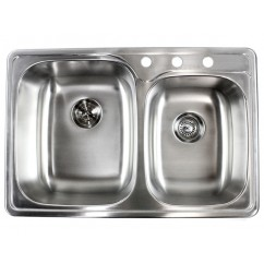 33 Inch Top-Mount / Drop-In Stainless Steel Double Bowl Kitchen Sink with 3 Hole Drilling