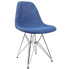 Designer Blue Fabric Upholstered Mid-Century Eames Style Accent Side Dining Chair