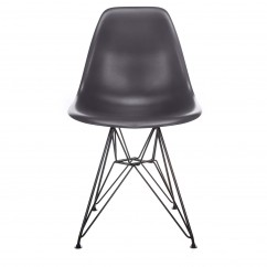 Nature Series Carbon Gray DSR Mid-Century Modern Dining Accent Side Chair with Black Eiffel Steel Leg