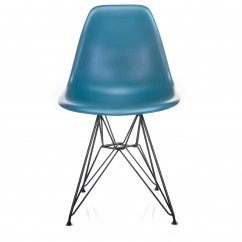 Nature Series Teal Blue DSR Mid-Century Modern Dining Accent Side Chair with Black Eiffel Steel Leg