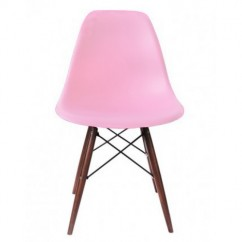 Eames Style DSW Dining Shell Chair with Dark Walnut Eiffel Legs in Pink