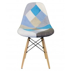 Designer Patchwork Fabric Upholstered Mid-Century Eames Style Accent Side Dining Chair
