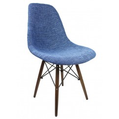 Designer Blue Fabric Upholstered Eames Style Accent Chair With Dark Walnut Wood Eiffel Legs