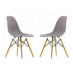 2 X Eames Style DSW Dining Shell Chair with Wood Eiffel Legs in Gray