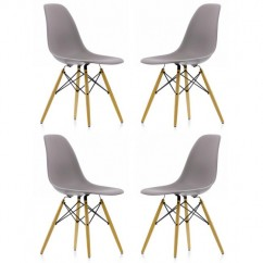 4 X Eames Style DSW Dining Shell Chair with Wood Eiffel Legs in Gray