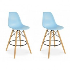 2 X Eames Style DSW Plastic Bar Stool with Wood Eiffel Legs in Sky Blue