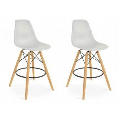 2 X Eames Style DSW Plastic Bar Stool with Wood Eiffel Legs in Light Gray
