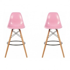2 X DSW Plastic Bar Stool with Wood Eiffel Legs in Pink