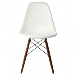 Eames Style DSW Dining Shell Chair with Dark Walnut Eiffel Legs in White