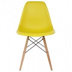 Eames Style DSW Dining Shell Chair with Wood Eiffel Legs in Yellow